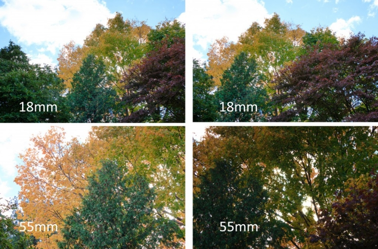 Effect of focal length on angle of view and camera movement