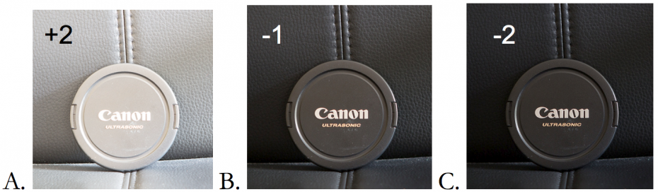 Exposure compensation for a dark object.