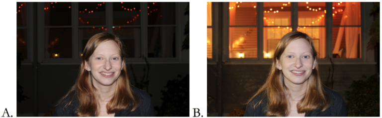 A. Shutter priority mode with flash. B. Night portrait preset