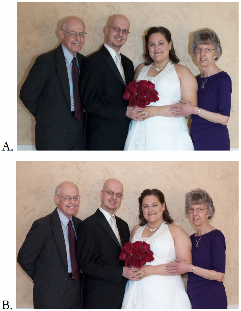 A. Shot taken in portrait orientation with pop-up flash. B. Shot taken in landscape orientation with pop-up flash.