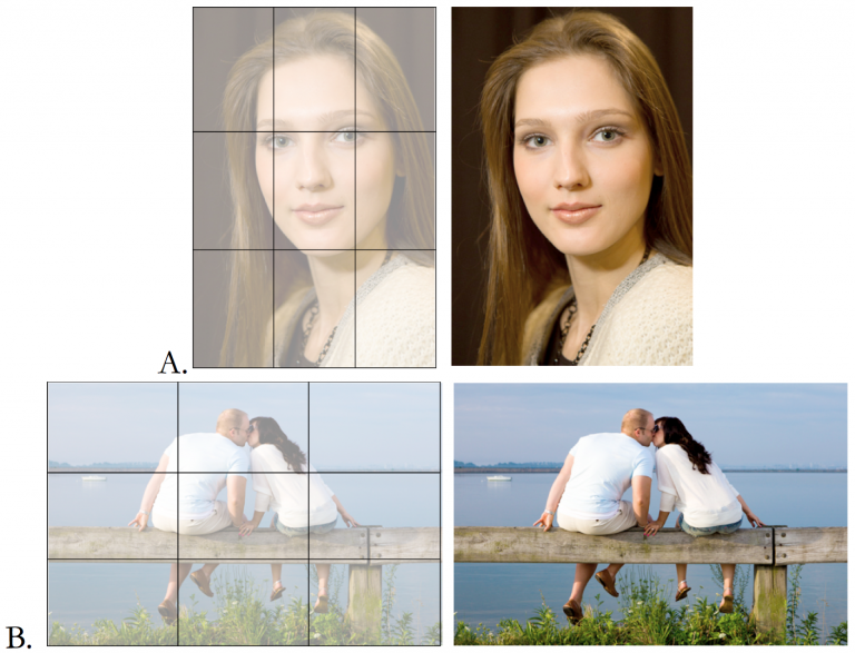 Examples using the rule of thirds for strong compositions. A. Eyes fall on intersections of lines. B. Horizon falls on lines.