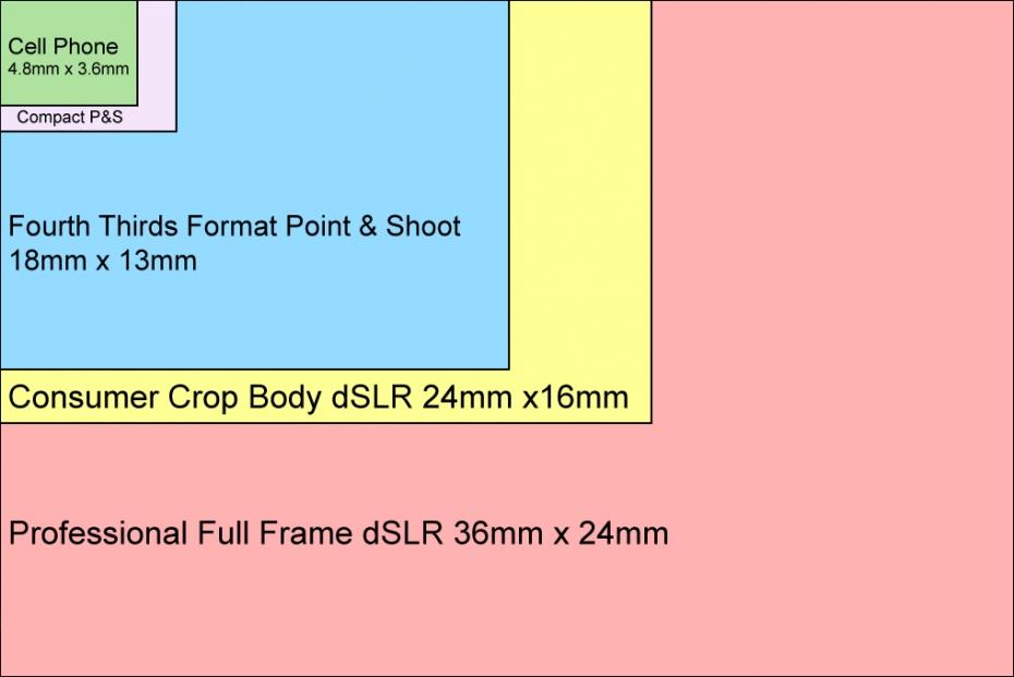 Figure 3. Comparison of digital sensor sizes